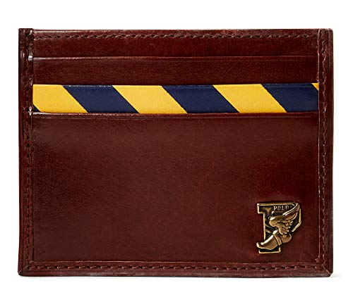 Polo Ralph Lauren Men`s Repp Stripe Leather Card Case (Brown(5001)/Navy/Yellow, One Size)