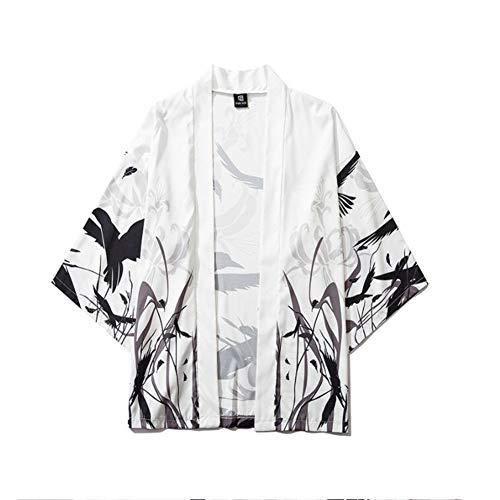FTFDTMY Kimono de los hombres estilo chino impresión media manga retro ligero personalidad Cardigan casual Hot Spring ropa protección solar chaqueta, XL
