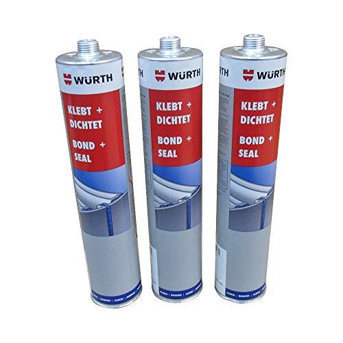 Würth Bond & Seal sikaflex Flexibler PU-Kleber und Dichtstoff in Schwarz, 3 x 300 ml