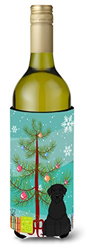 Caroline tesoros del bb4191literk feliz árbol de Navidad gigante Schnauzer para botella de vino bebida Insulator Hugger, 750ml, Multicolor