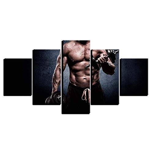 5 Canvas Paintings Modular Canvas Painting HD Printed Quotes 5 Pieces Fitness Man For Gym Decor Wall Art Picture Artwork Poster (WX107)
