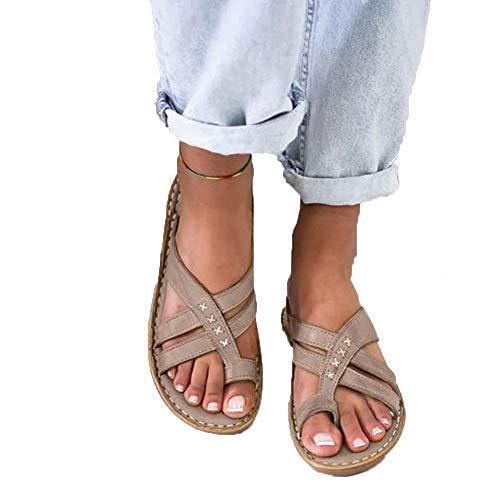 Xnhgfa Damen Big Toe Hallux Valgus Sandalen Bequeme Plattform Pantoletten Zehentrenner Hausschuhe Sommer Strand Reise Schuhe Flach Flip Flops,Grau,42