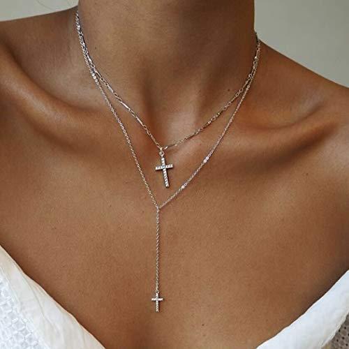 Yean Halskette mit Kreuz-Anhänger, mehrlagiges Kreuz, Choker-Halsketten, Silberschmuck, Kette mit Kristall, für Damen und Mädchen
