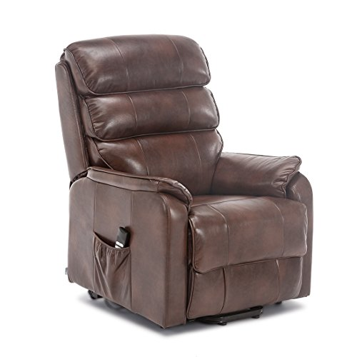 More4Homes BUCKINGHAM DUAL MOTOR ELECTRIC RISE RECLINER BONDED LEATHER ARMCHAIR SOFA MOBILITY CHAIR (Brown)