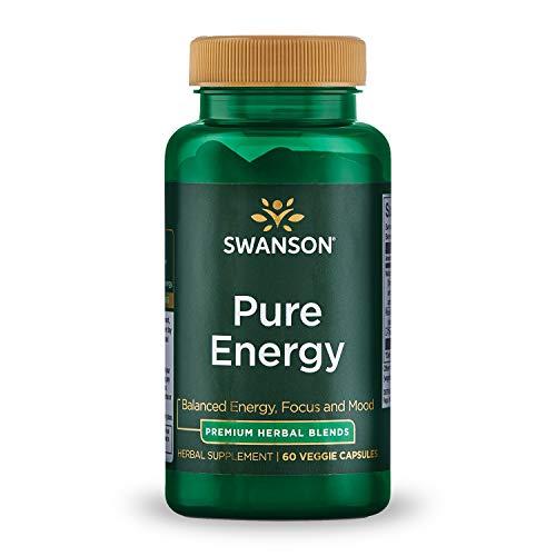 Swanson Pure Energy Metabolism Concentration Mental Focus Mood Support Stress Management Adaptogenic Herbs Herbal Supplement 60 Veggie Capsules (Veg Caps) Vegan
