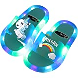 Rainbow Unicorn Slippers for Boys Girls   Beach Shoes Baby Toddler   LED Light Summer Kids   Beach Shoes Baby Toddler   Soft Indoor Slippers   Children Sandals (28(Insole 16.5CM), Pink)