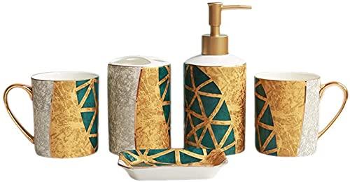HKAFD Conjunto de Accesorios de baño de Lujo de 6 PC, cerámica Europea con Bandeja, Kit de Accesorios de baño Decorativo, Incluye Taza de Cepillo de Dientes, dispensador de jabón, Oro (Color : Gold)