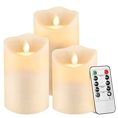 Maxesla Velas LED, Set de 3 Velas a Pilas, Luces reales de...
