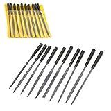 AAProTools Needle Files Set, 10PCS 3x140mm Metal Files Hand Files for Jewelry Needle Files for Wood Carving, Pack of 10 NF-001