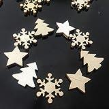 ZesNice Streudeko Weihnachten, 200 Stücke Holzsterne Blank Holz Scheiben Mini Verschönerungen für Handwerk Making DIY - 4