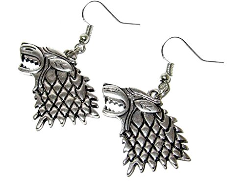 Game of Thrones House of Stark Dire Wolf Silver Dangle Earrings w/Gift Box