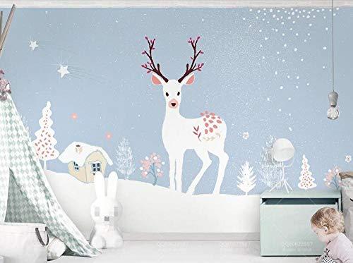 Papel Pintado 3D Tapiz Cervatillo, Copos De Nieve, Escena De Nieve Tv Fondo Pared Decorativos Papel Tapiz Wallpaper
