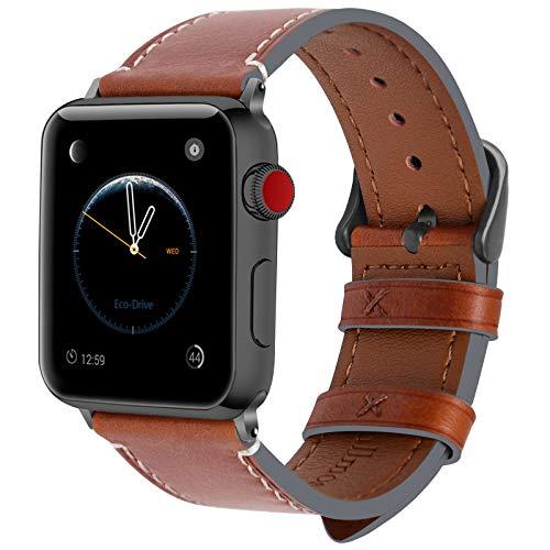Fullmosa 10 Colores para Correa de Apple Watch 38mm y 42mm, Piel Wax iWatch Pulsera/Banda/Strap para Apple Watch SE, Series 6/5/4/3/2/1, Marrón Oscuro + Hebilla de Gris Ahumado, 42mm