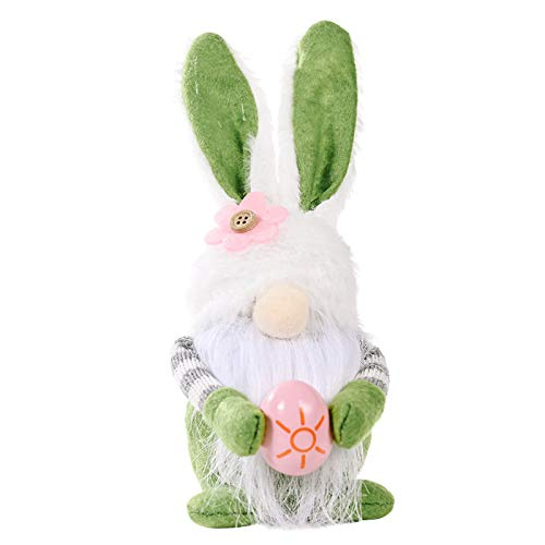Easter Cartoon Bunny Shape Cute Faceless Doll Ornaments,Cute Plush Gnome Rabbit Toys Kids Gifts,for Easter Day Party Home Decoration (Green)