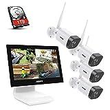ANNKE WL400 4CH 5MP WiFi NVR Kit de Surveillance sans Fil avec HDD 1TB l'écran LCD 10,1'' et 4×1080P Caméras de Vidéosurveillance 2MP intérieures et extérieures,économiseur d'écran Automatique