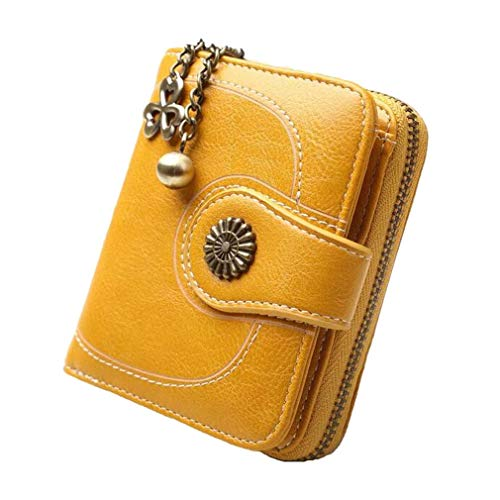 Coopay korte en lange dames portemonnee clutch tassen elegante PU lederen portemonnee handtassen blokkeren Multi credit card houder kleine muntzak met rits zak, Short Wallet - Yellow