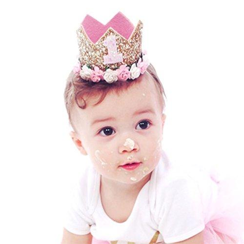 Bluelans Bandeau pour bébé fille avec couronne et paillettes brillantes pour fête d'anniversaire Rose