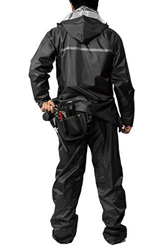 レインスーツ 上下 メンズ (耐水圧:10000mmH2O) (二重袖構造) (裾調節テープ機能) (背中反射プリント) (水滴浸入防止) 4L ブラック AS-4000-4L
