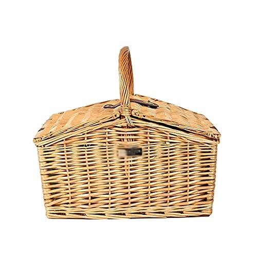 Cesta de Pascua tejida a mano natural con forro y tapa, cesta de picnic para acampar al aire libre viajes recreación al aire libre ZJ666