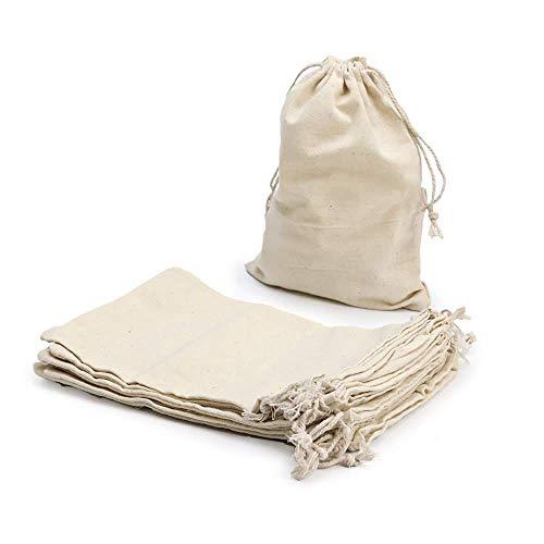 RUBY - 48 Bolsas de algodón con cordón Ajustable, Bolsas de Tela Manualidades, Bolsa de Regalo, Bolsa de Tela para Pintar, Bolsa de cumpleaños (Talla L)