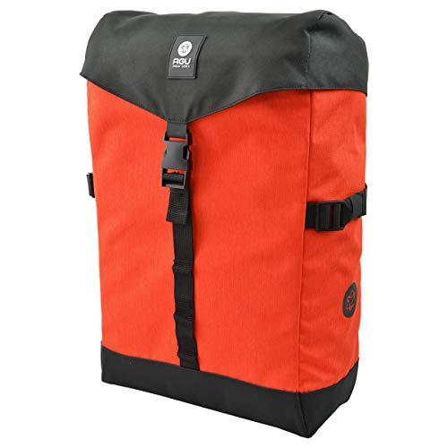 AGU Urban Essentials Seitentasche | Fahrradtasche mit Kompressionsriemen | Reißverschluss | Wasserabweisend | Reflektoren | 18 Liter | Orange