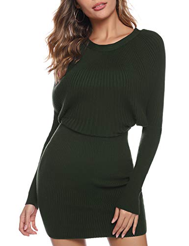 Aibrou Vestito Maglioni Donna Girocollo Manica a Pipistrello Eleganti Vestiti in Maglia Invernali Mini Abito (Verde Militare, X-Large)