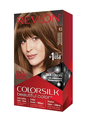 Revlon Colorsilk Beautiful Color Coloration Permanente des Cheveux avec Technologie au Gel 3D et Kératine, Teinture avec Couvrance à 100 % des Cheveux Blancs, 43 Châtain doré moyen