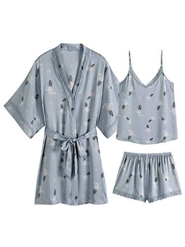 TYT Pijamas de Estilo Chino Tirantes de Seda de Hielo de Verano para Mujer Pantalones Cortos Impresos de Piña de Tres Piezas Sección Delgada Traje de Servicio a Domicilio-L_Tres Piezas Juego de Piña,