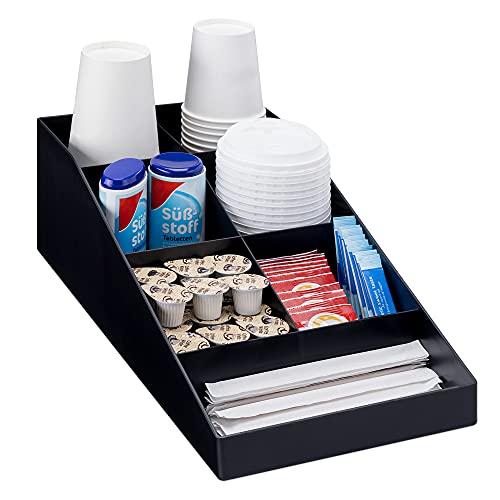 Navaris Kaffee Spender Organizer - Aufbewahrung von Zubehör - Kaffeebar für u. a. Zucker Milch Servietten Kapseln - Kaffeestation 7 Fächer schwarz
