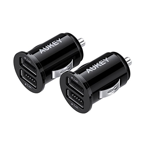 AUKEY USB Car Charger, Flush Fit Ultra Compact Dual Port 24W/4.8A Output (2-Pack) for iPhone iPad Samsung & Others - Black