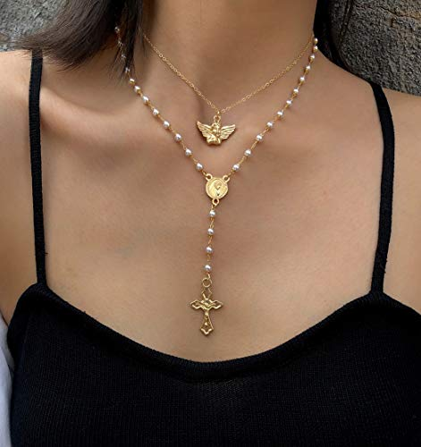 Kercisbeauty Gold Rosary Necklace with Angel Vrigin Mary Gold Cross Necklace for Women Ladies Girls Layered Beads Necklace Jewelry