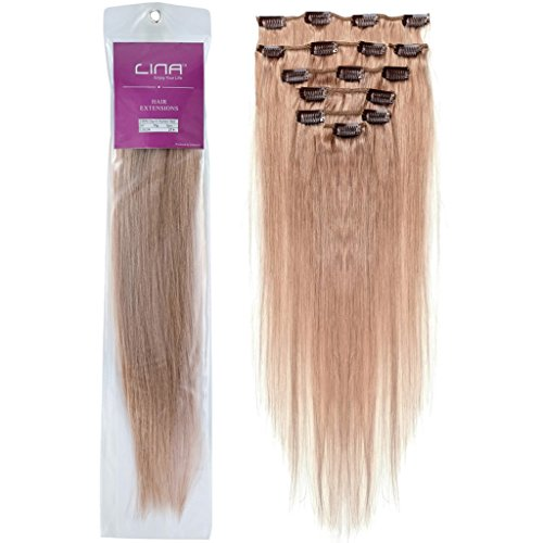 Lina Silky Soft Human Hair Women Clip In Straight Extensions Hairs #27 Dark Blonde