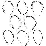 Folora 6/8 piezas Unisex Negro Primavera Ondulado Metal Hair Hoop Band Hombres Mujeres Deportes Diadema Bandeau Accesorios (8pcs)