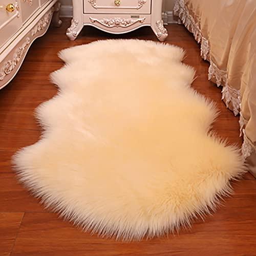 Faux Fårskinn Fur Area Rug, Soft Shaggy Couch Seat Cushion, Furry Matta, Plush Area Rug för sovrumsgolvet barns Living studentrum Decor,2P60*200