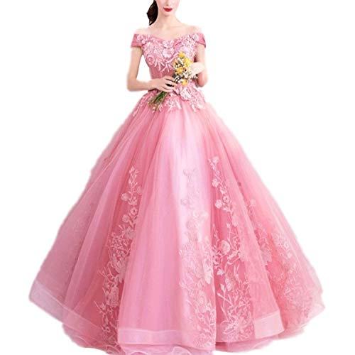 FTFTO Wohnaccessoires Damenkleid Spitze Applique Schulter Elegante Pink Party Party für Braut fz Pink m