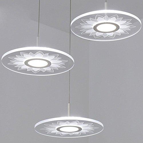Lampe suspension design moderne Jardin 3 Light Disc Fish Line LED Pendentif Pendentif Acrylique en métal Blanc Transparent motif de lotus Ombre pour salon Restaurant Chambre Équipement d'éclairage