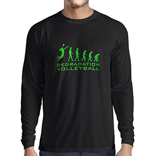 lepni.me Camiseta de Manga Larga para Hombre Degradación del Juego de Voleibol, Regalo de Humor para Jugadores de Deportes (XXX-Large Negro Verde)