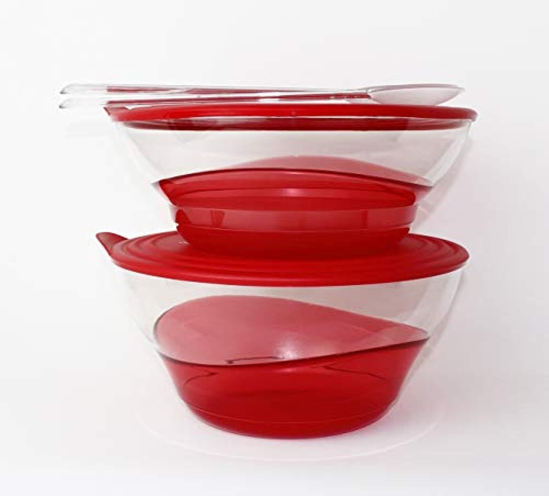 Tupperware Set Eleganzia 4,6 L + 3,2 L + SalatBesteeck ROT TRANSPARENT Schale Schüssel Servierschale BLICKFANG
