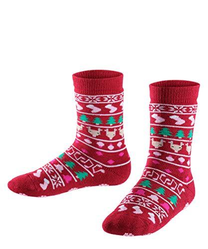 FALKE Kinder Stoppersocken Christmas Catspads, Schurwollmischung, 1 Paar, Rosa (Berry 8106), Größe: 27-30