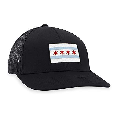 Chicago Flag Hat – Chicago Trucker Hat CHI Baseball Cap Snapback Golf Hat (Black)
