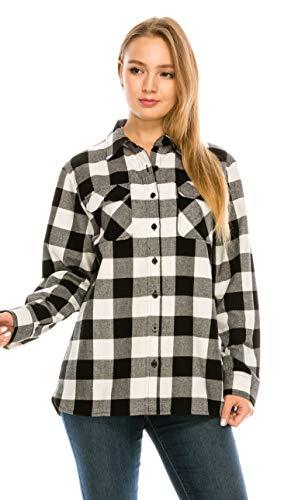 YAGO Women's Classic Standard Fit Outdoor Flannel Shirt