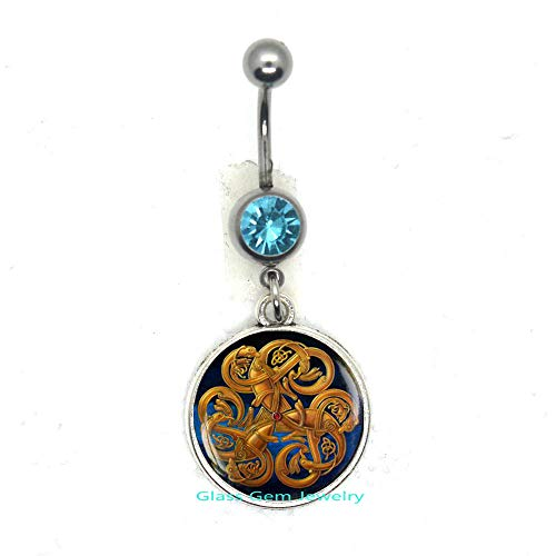 Celtic Knot Belly Ring, Irish Jewelry, Celtic Belly Ring, Viking Rune Belly Button Ring, Occult Jewelry, Scandinavian Belly Button Ring, Pagan Symbol,Q0025