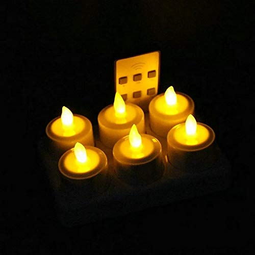 Bright Set of 6 LED Candle Remote Controlled Flickering Frosted Rechargeable Tea Light Electronics lamp waxless Bar Wedding Home-White Flickering (Color : Amber)