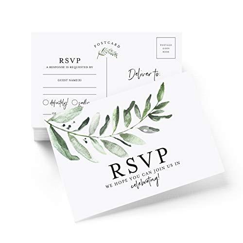 RSVP Postkarten für Hochzeit, rustikale Grüne Antwortkarten, Antwortkarten perfekt für Brautparty, Rehearsal-Dinner, Verlobungsfeier, Babyparty oder andere besondere Anlässe, 50 Stück