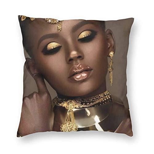 YHKC Fundas de Almohada de Terciopelo, Arte Negro, Mujeres afroamericanas, Fundas de Almohada Decorativas de 18x18 en Fundas de Cojines con Cremallera