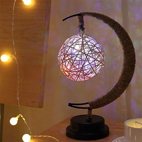 Risheng Lámparas de Mesa de Noche LED Luz Hecho a Mano Sepak Takraw/Luna/Stars la lámpara de luz for Dormir Regalo Regalo de los niños Salón de Fiestas (Color : Colorful)