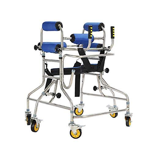 LHY-Rollator Gehhilfe mit 6 Rädern 360 ° drehbare Rolle und Achselstütze Armlehne Stehende Mobilität Gehhilfen Ständer Rahmen mit Sitzrad höhenverstellbar