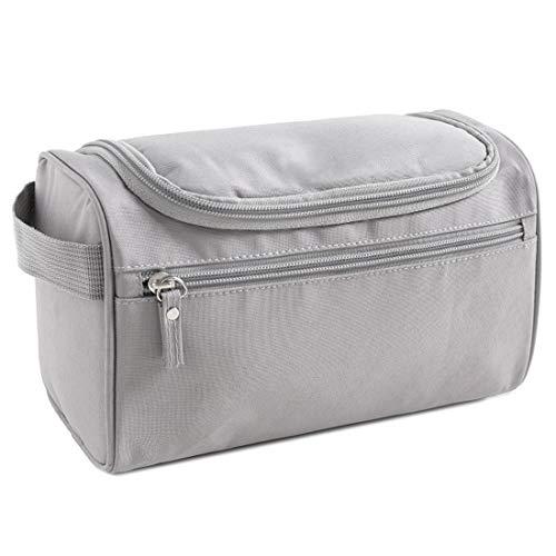 Neceser de mano y maleta de viaje, color gris, de gran calidad, para hombres y mujeres, amplio neceser para mujer con ganchos, 25 x 13 x 14 cm, Beauty Case