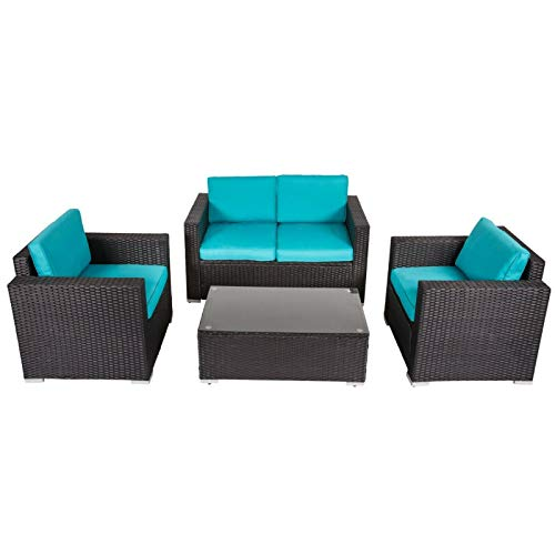 KINTNESS Outdoor Rattan Sofa 4 PCS Patio PE Wicker Black Sectional Sofa Couch Furniture Set with Tea Table&Washable Cushions