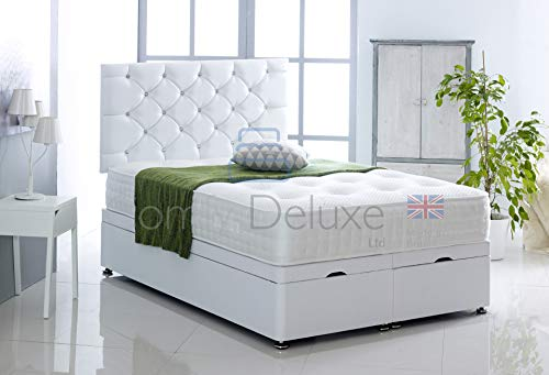 Faux Leather Ottoman Foot Lift Bed Base with HEADBOARD ONLY by Comfy Deluxe LTD (White, 4FT6 Double)